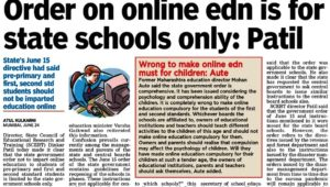 Order on online edn is for state schools only : Patil