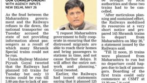 145 shramik trains planned for Maha, only 13 could run so far